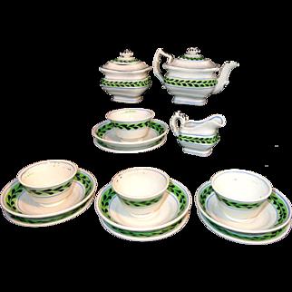 Miniature Hand Decorated Brushstroke Tea Set Pearlware c1840