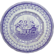 Historical Staffordshire Childs Plate Womens Suffrage c1865 Ladies Tea Party