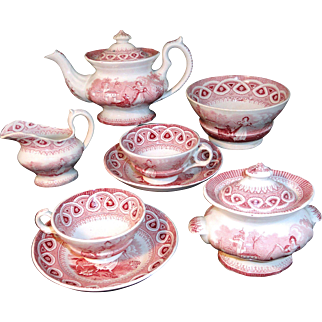 Staffordshire Childs Tea Set DANCING GOAT 1860 Red Transferware Pearlware
