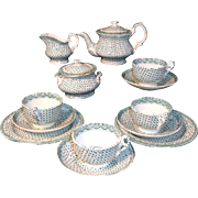 Staffordshire Childs Dimity Tea Set 1840 Dimmock Green Transferware
