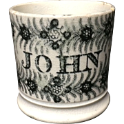 1830 ~ Early Pearlware Child's Mug ~ JOHN ~ Staffordshire Christening