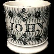 1830 ~ Early Pearlware Child's Mug ~ JOHN ~ Staffordshire Christening