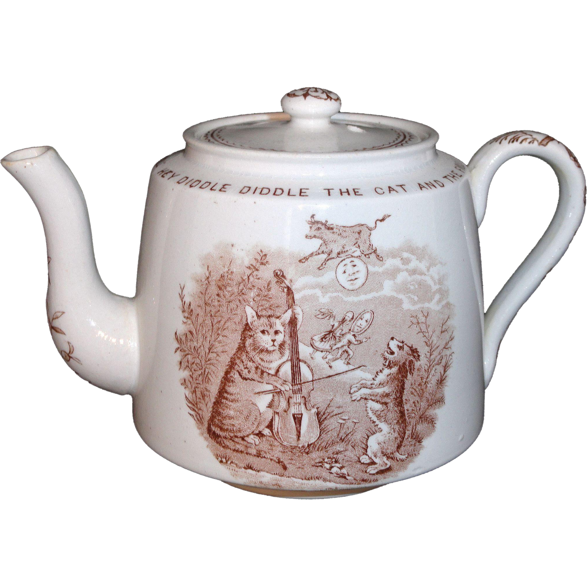 CAT FIDDLE COW MOON Transferware Nursery Rhymes Childs Brown TEAPOT 1888 England