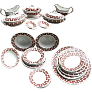 Childs Ironstone Doll Dinner Set MATLOCK Greek Key Ridgway Staffordshire 1870