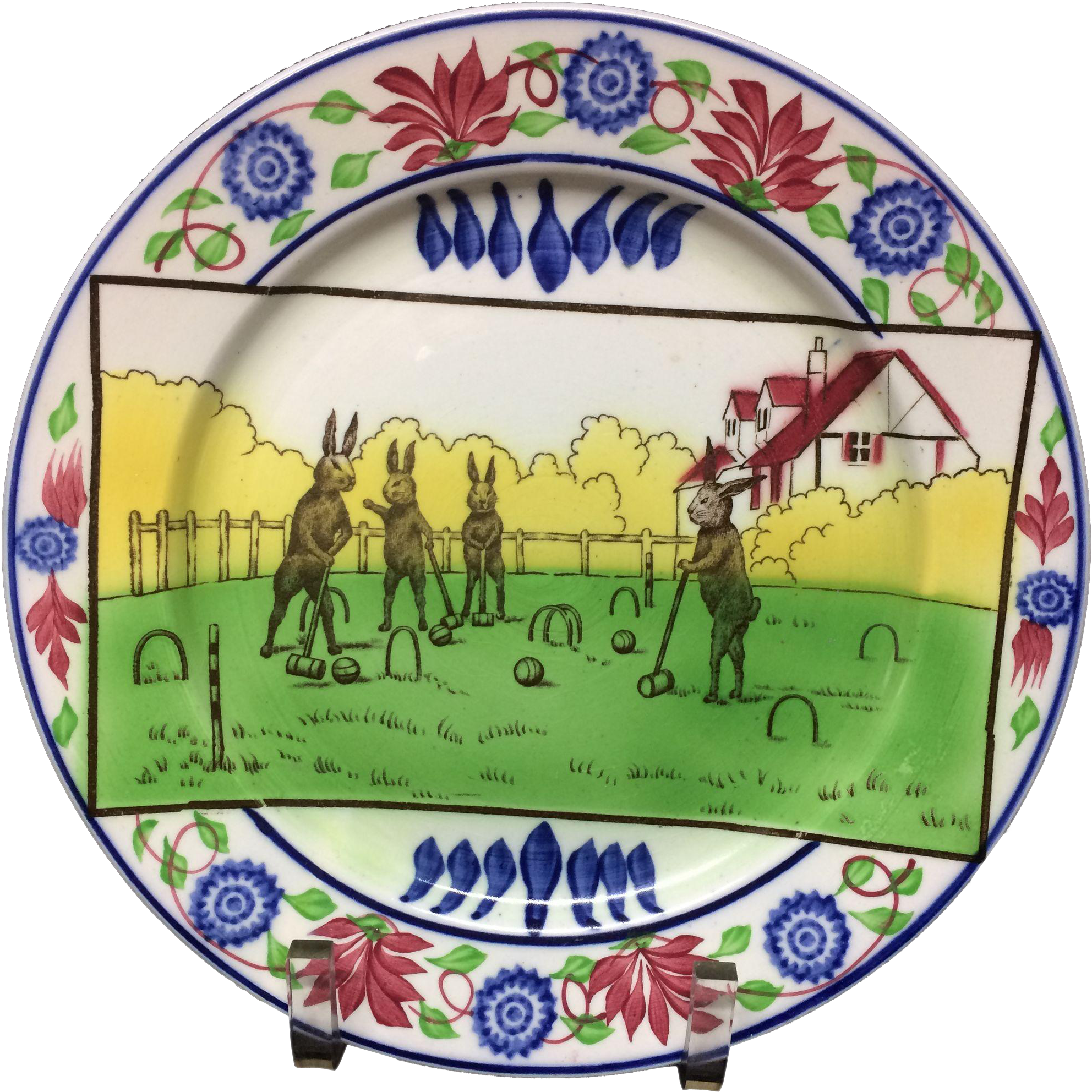 c 1900 ~ Stick Spatter Rabbitware Sporting Series Plate ~ CROQUET Anthropomorphized Rabbit