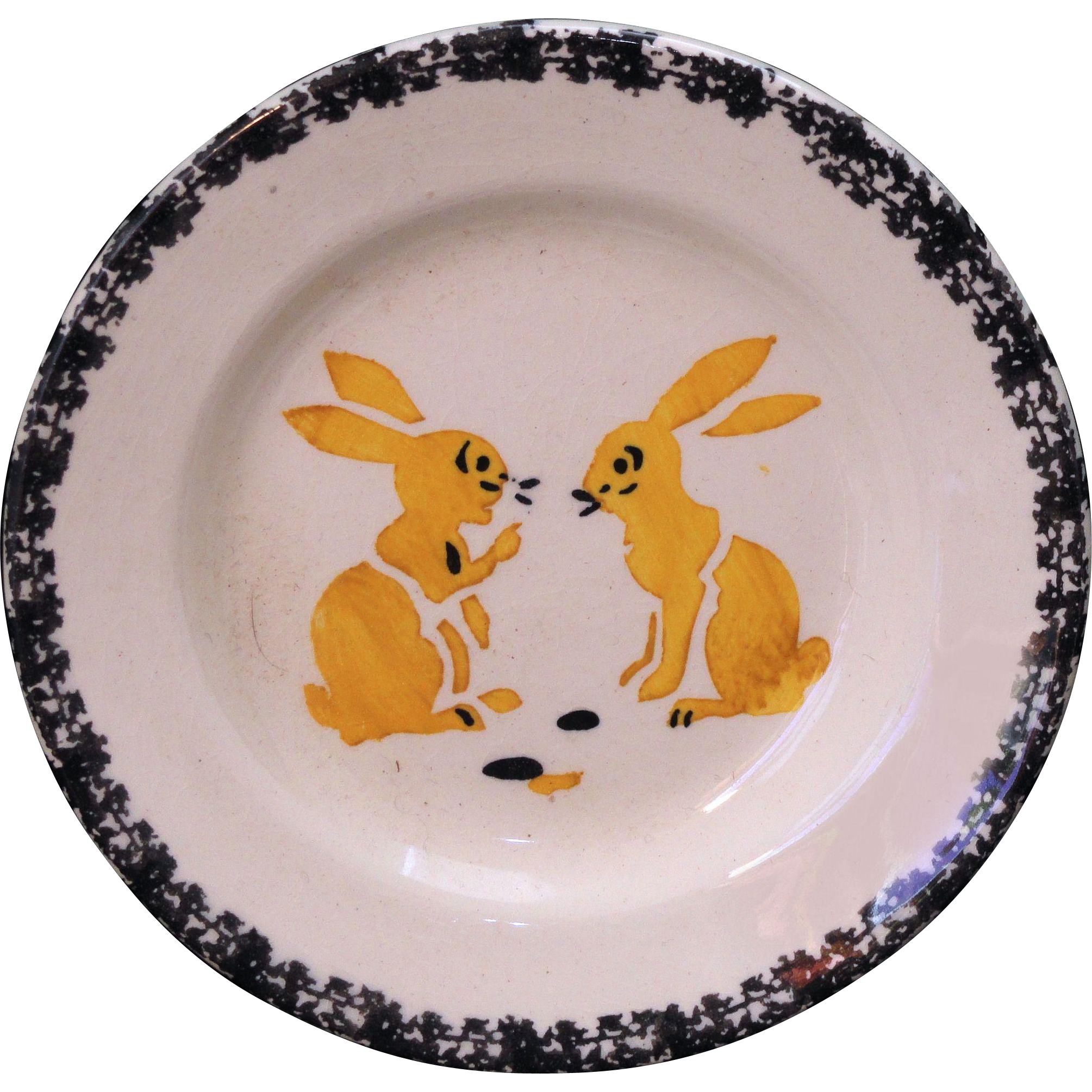 French Faience Childs Miniature Plate TWO BUNNY RABBIT TALK 1900 Spatter Stencil