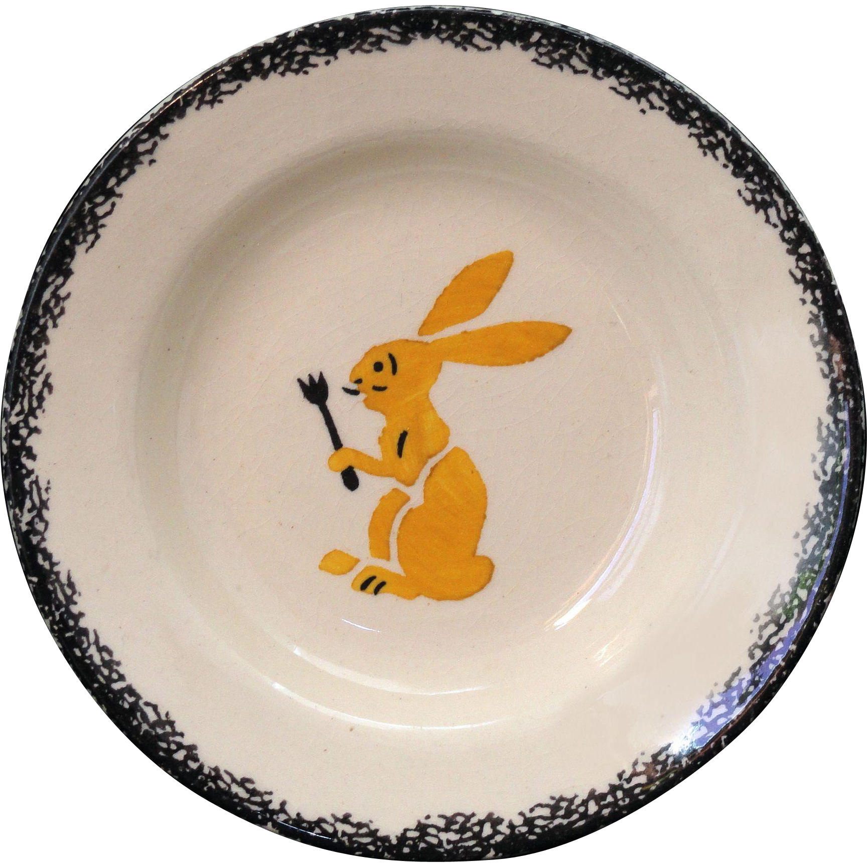 French Faience Childs Plate HUNGRY BUNNY RABBIT with FORK c1900 Spatter Stencil