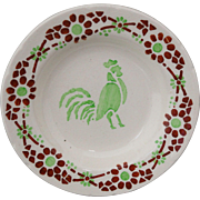 French Childs Miniature Doll Plate ROOSTER Coq CREIL 1910 Year of the Rooster
