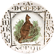 1880 ~ Staffordshire 19th Century Nursery Plate ~ Kangaroo