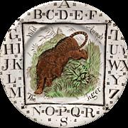 1880 ~ Staffordshire 19th Century Nursery Plate ~ Tiger