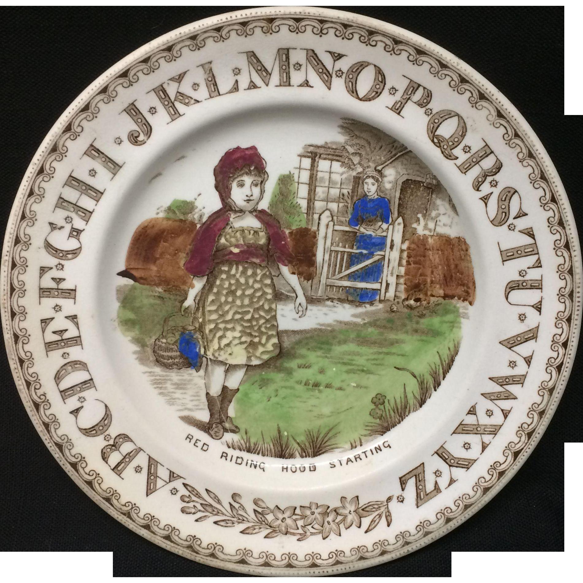 1880 ~ Staffordshire 19th Century Nursery Plates ~ Red Riding Hood Starting