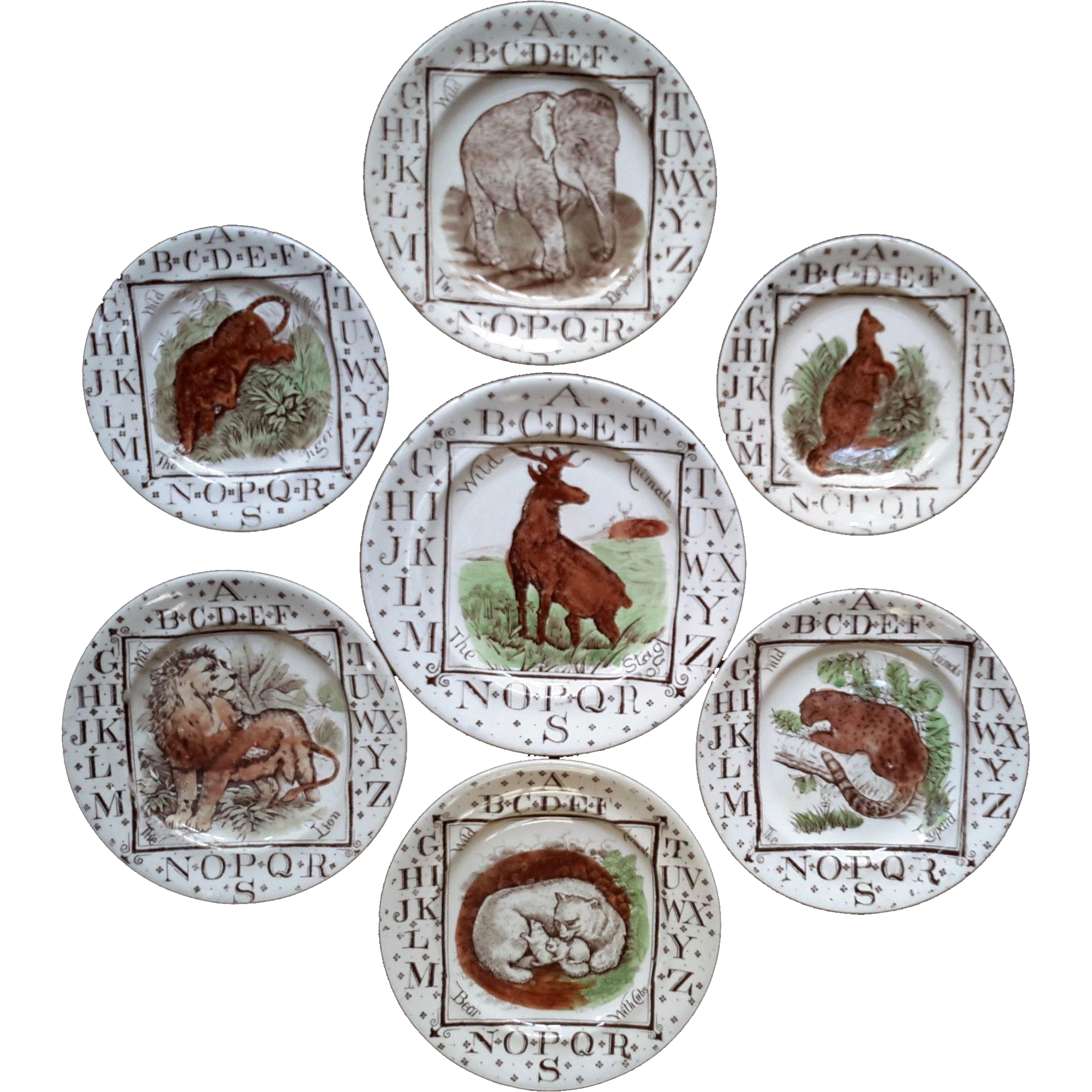 1880 ~ Staffordshire 19th Century Nursery Plates ~ Wild Animals