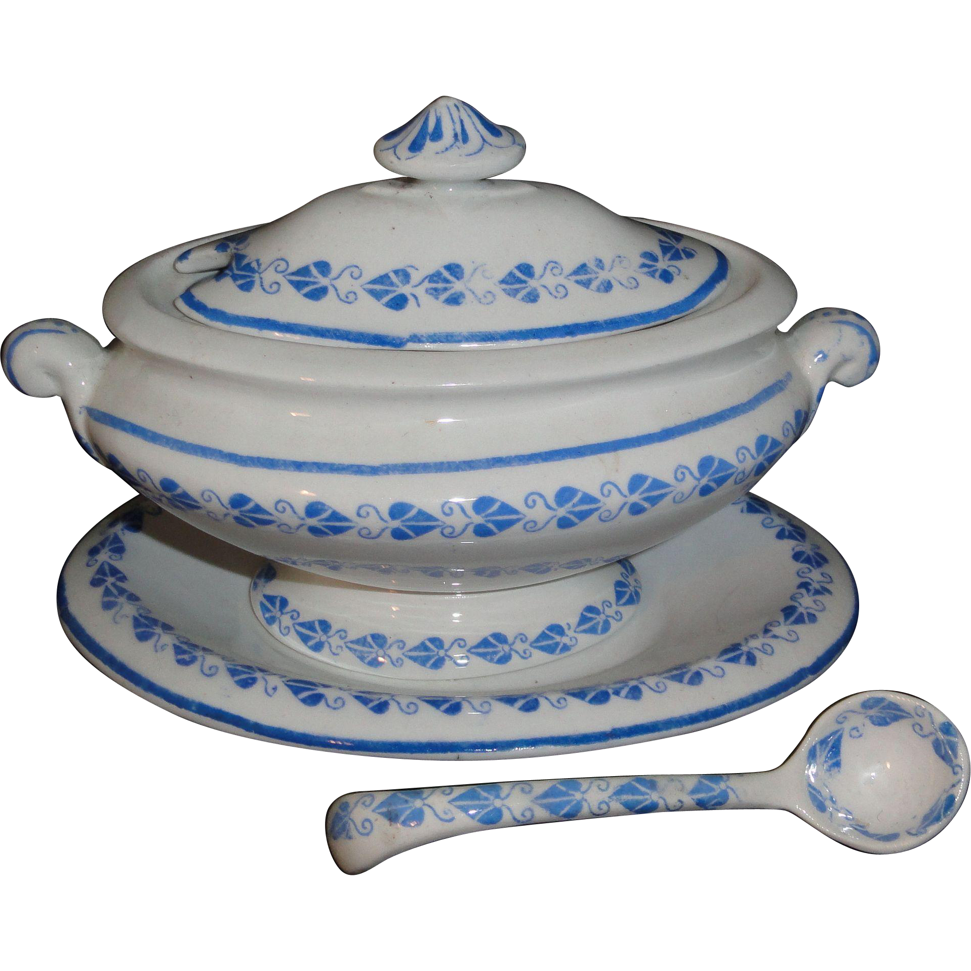 Copeland Childs Blue Hearts Soup Tureen with Ladle Staffordshire 1870 Transferware