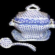 Miniature Flow Blue Pearlware 4pc Tureen Ladle DIMITY Dimmick Staffordshire 1840