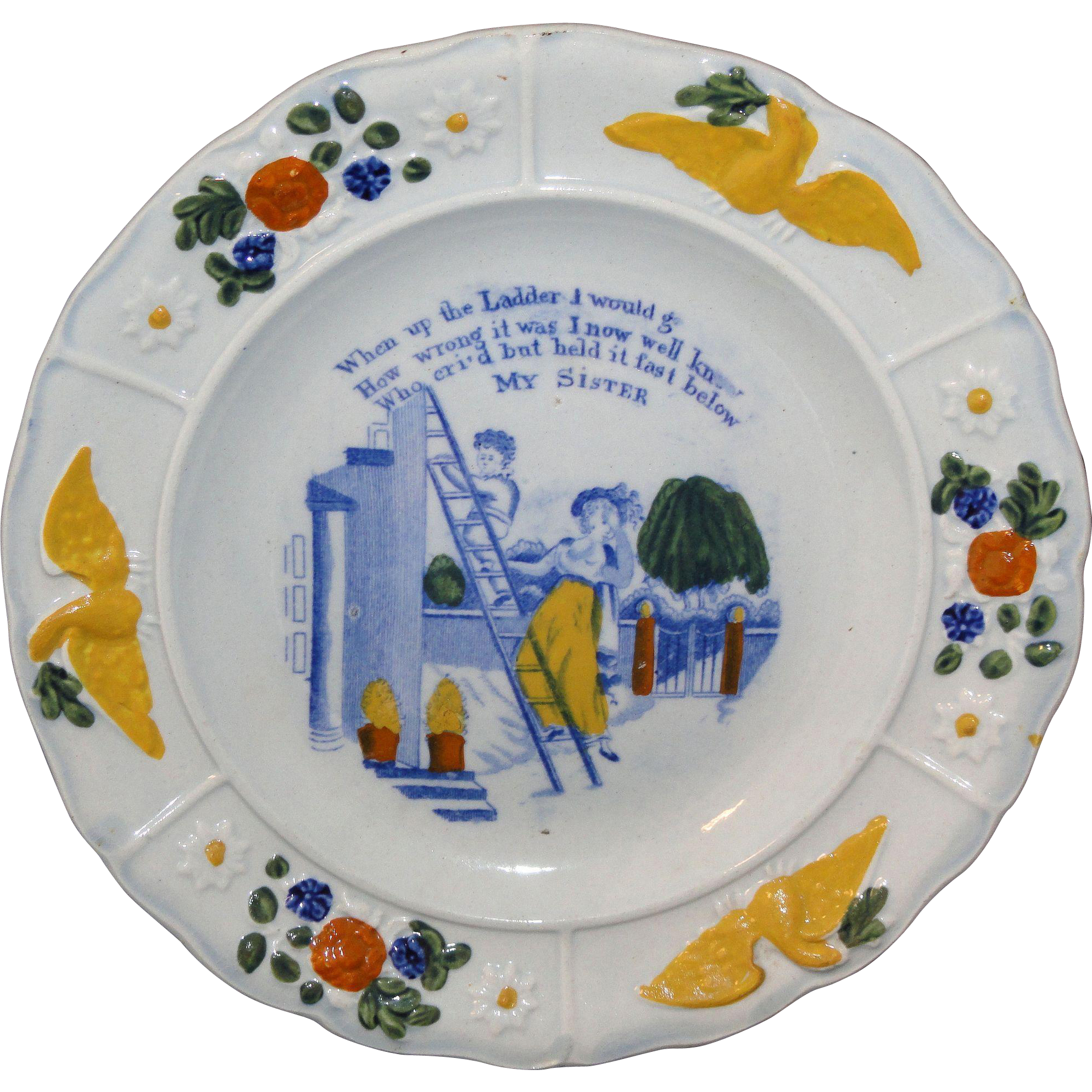 Early Childs Pearlware Plate  MY SISTER  Eagle Border  Staffordshire England c 1835
