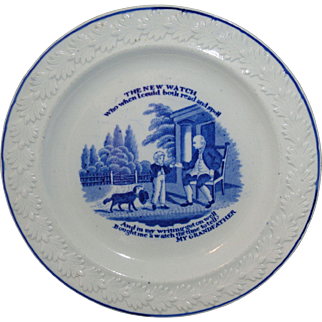Pearlware Childs Plate My GRANDFATHER ~ TIMEPIECE 1825 Rogers Staffordshire