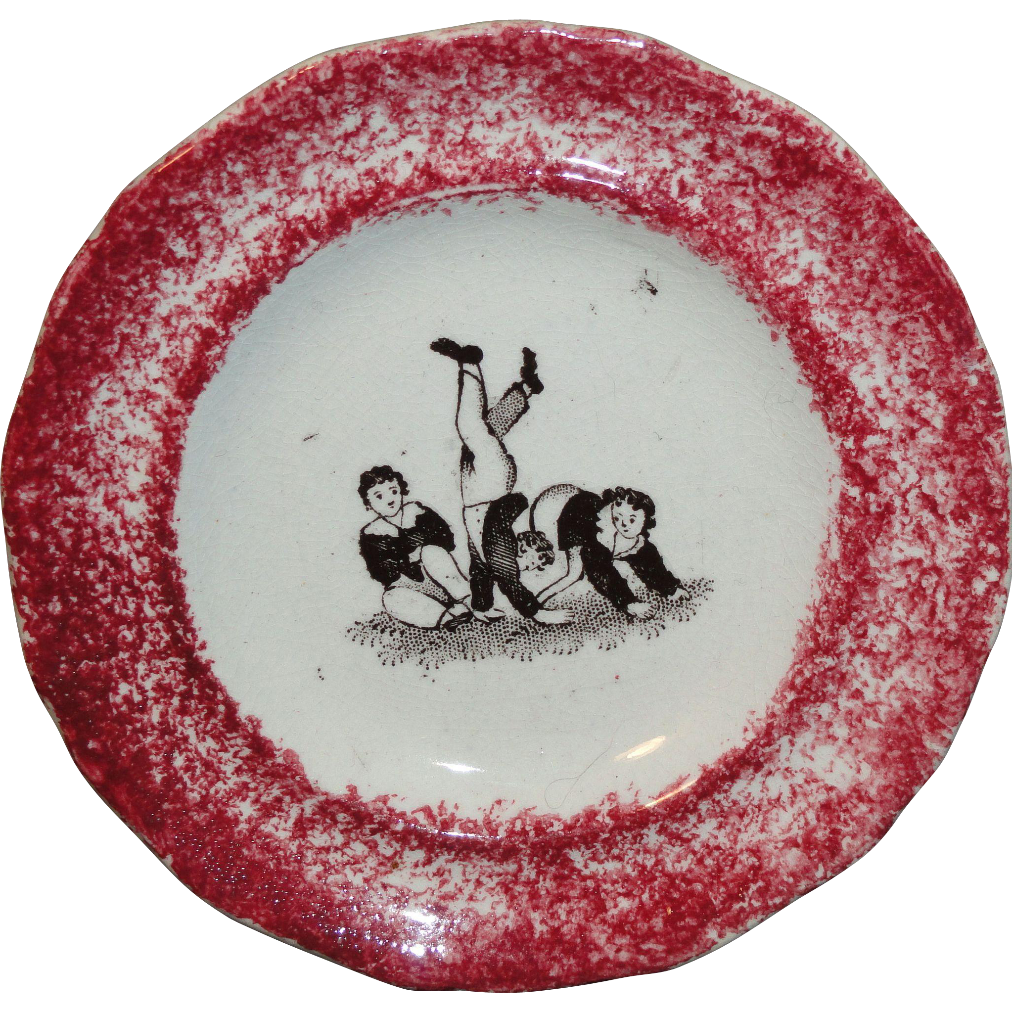 Toy Spatterware Sponge Transfer Cup Plate ~ Boys Rough And Tumble 1810 Staffordshire