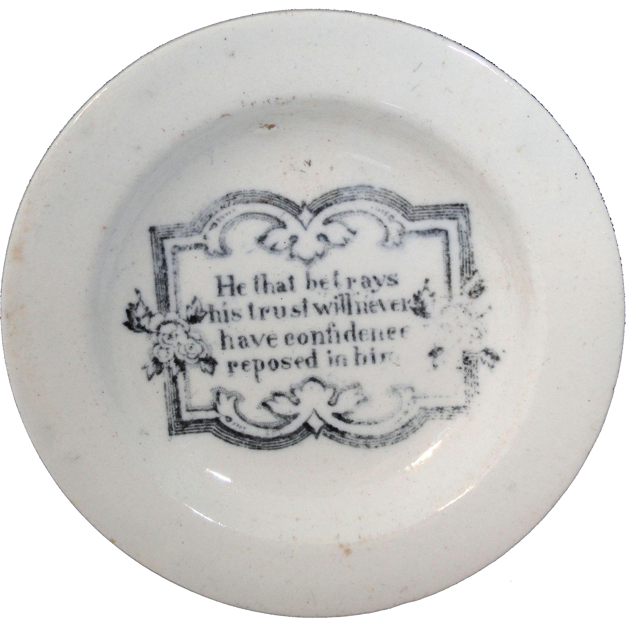 Childs Miniature Toy Plate FRANKLIN'S MAXIMS ~ TRUST & CONFIDENCE Staffordshire England c 1830