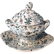 Staffordshire Pearlware Miniature Green 3pc Dinner Tureen Floral Berry Chintz 1835 Meigh