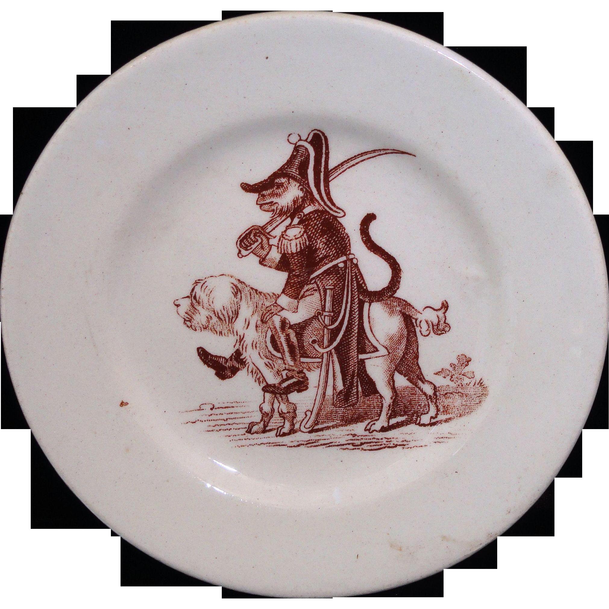 NAPOLEON Monkey WELLINGTON Dog French Toy Historical Caricature Plate  Keller & Guerin Luneville France 1870