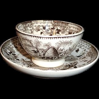 Rare Staffordshire BEEHIVE Miniature Teabowl and Saucer William Adams c1820