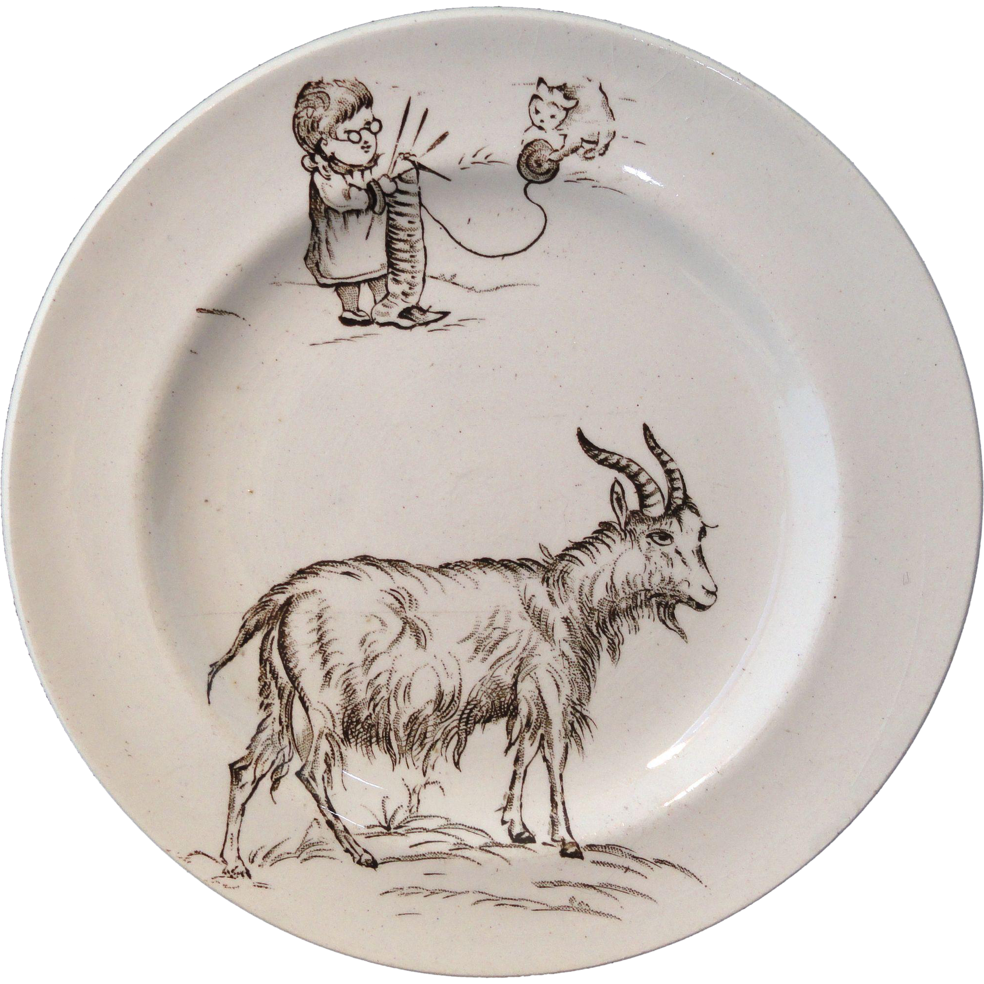 Rare GOAT & CAT with Yarn, after Kate Greenaway Childs Transferware Plate Staffordshire England c 1880