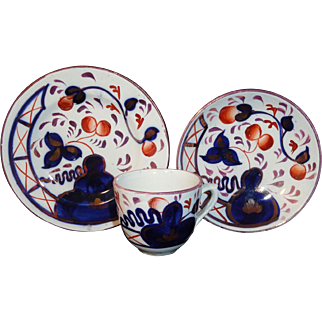 Childs Gaudy Welsh Flow Blue Tea Set Trio OYSTER Charles Allerton & Sons Staffordshire England c 1890