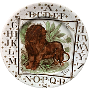 ABC Plate The LION ~ Wild Animals ~ Outstanding Pearlware Alphabet 1880