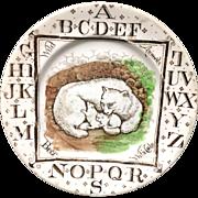 1880 ~ Wild Animals ~ Polar Bear + Cubs ~ ABC Plate