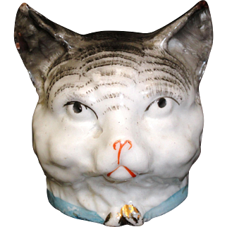 Rare Early Figural Coin Bank ~ Tiger Cat England c1900