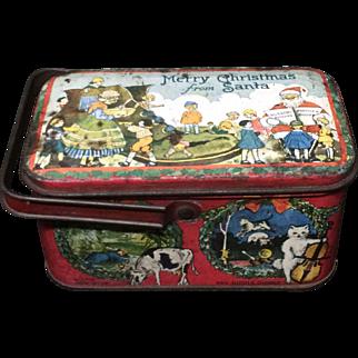 Merry Xmas Santa  Nursery Rhyme Tin Lunch Box 1925 Tindeco