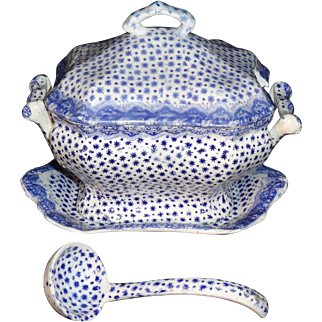 Pearlware Childs DIMITY Dimmock Flow Blue Soup Tureen LADLE & Tray 1840 Staffordshire
