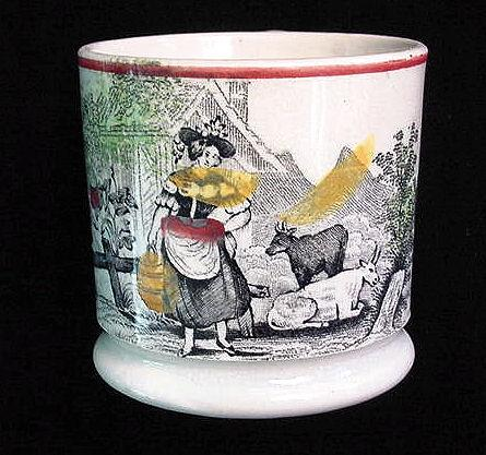 Antique Childs Mug ~ Milkmaid & Cows