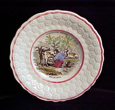 1840 Child's  Pearlware Plate ~ Crusoe Milking