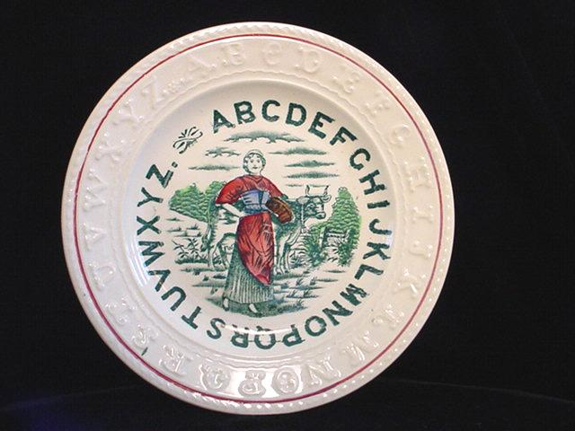 Staffordshire Double Alphabet ABC Plate ~ MILKMAID
