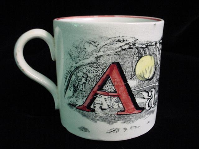 Child's Pearlware A + B Mug ~ Apple + Ball