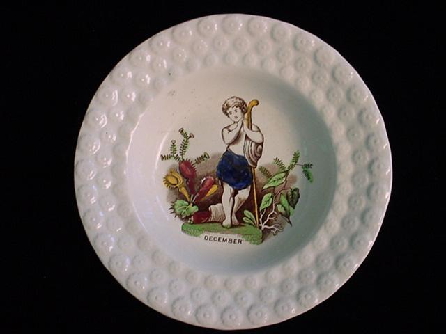 Pearlware Childs Porridge Bowl ~ December