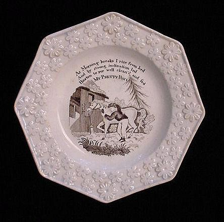 My Pretty Pony ~ Early Child's Pearlware Plate ~ c1820