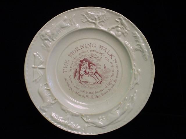 Early Pearlware Child's Plate ~ Morning Walk 1830