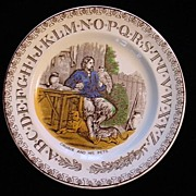ABC Plate ~ Crusoe and his Pets 1880
