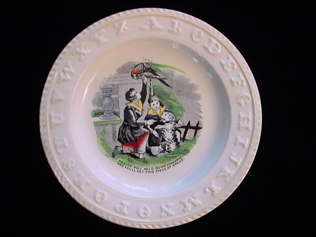 Pearlware ABC Plate ~ Pretty Poll Parrot