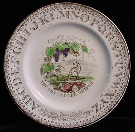 ABC Plate ~ Aesops Fables ~ Fox + Grapes 1880
