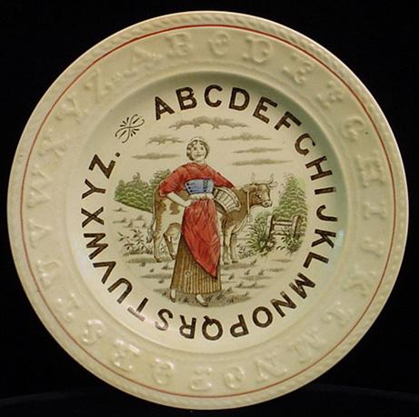 Staffordshire  Double ABC Plate ~ MILKMAID 1880