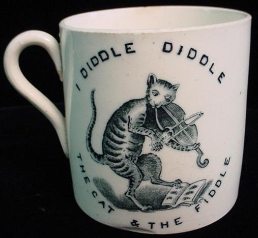 RARE Nursery Mug c1830 ~ Cat Fiddle Cow Moon & Bo Peeps Sheep