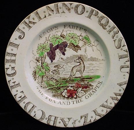 Alphabet Plate ~ Fox + Grapes ~ Aesops Fables 1880