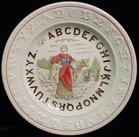 EXC Double ABC Plate ~ Milk Maiden 1880
