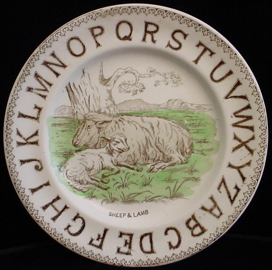 1880 Staffordshire ABC Plate ~ SHEEP and LAMB