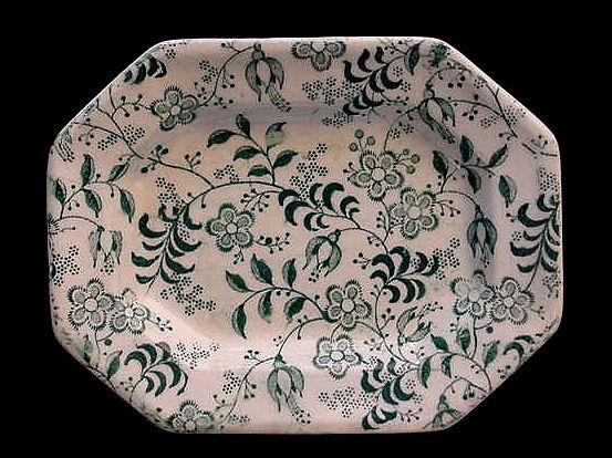 Green Staffordshire Miniature Floral Platter c1840