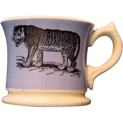 Early Slip Decorated Childs Transferware Mug ~ TIGER Wildebeest