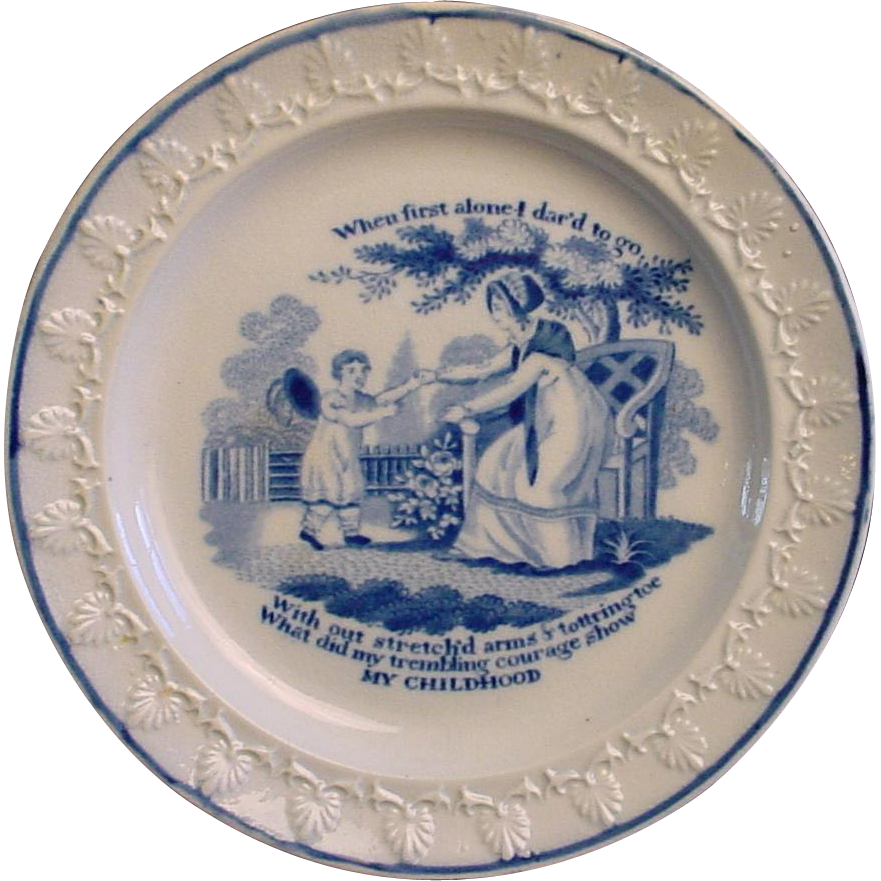 Pearlware Child's Plate ~ My Childhood 1820